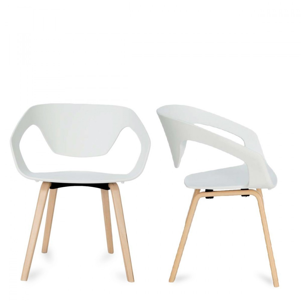 chaise blanche pied bois