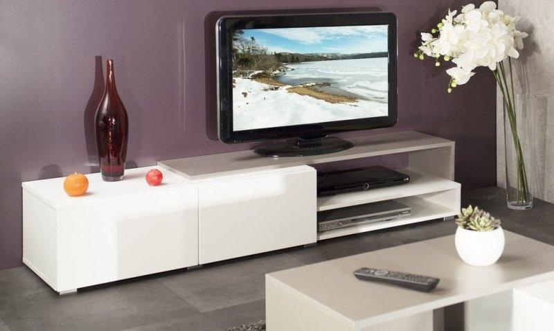 meuble tv blanc laqu 200 cm id es de d coration int rieure french decor. Black Bedroom Furniture Sets. Home Design Ideas