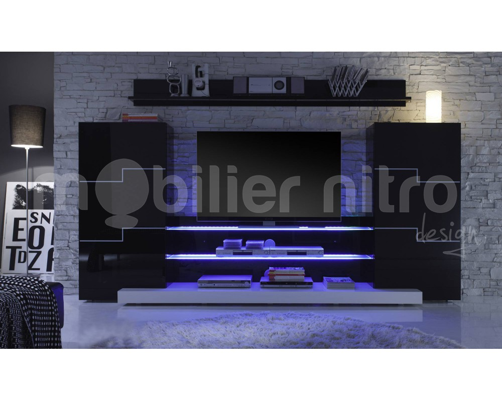 Meuble Tv Led Noir Id Es De D Coration Int Rieure French Decor # Meuble Tv Noir Led