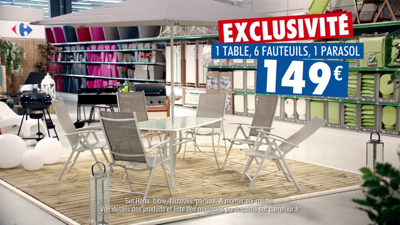 Awesome table salon de jardin carrefour images awesome for Salon de jardin bois carrefour