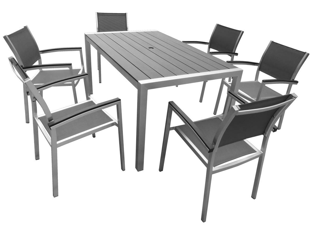 Table de jardin aluminium gris | Acp37