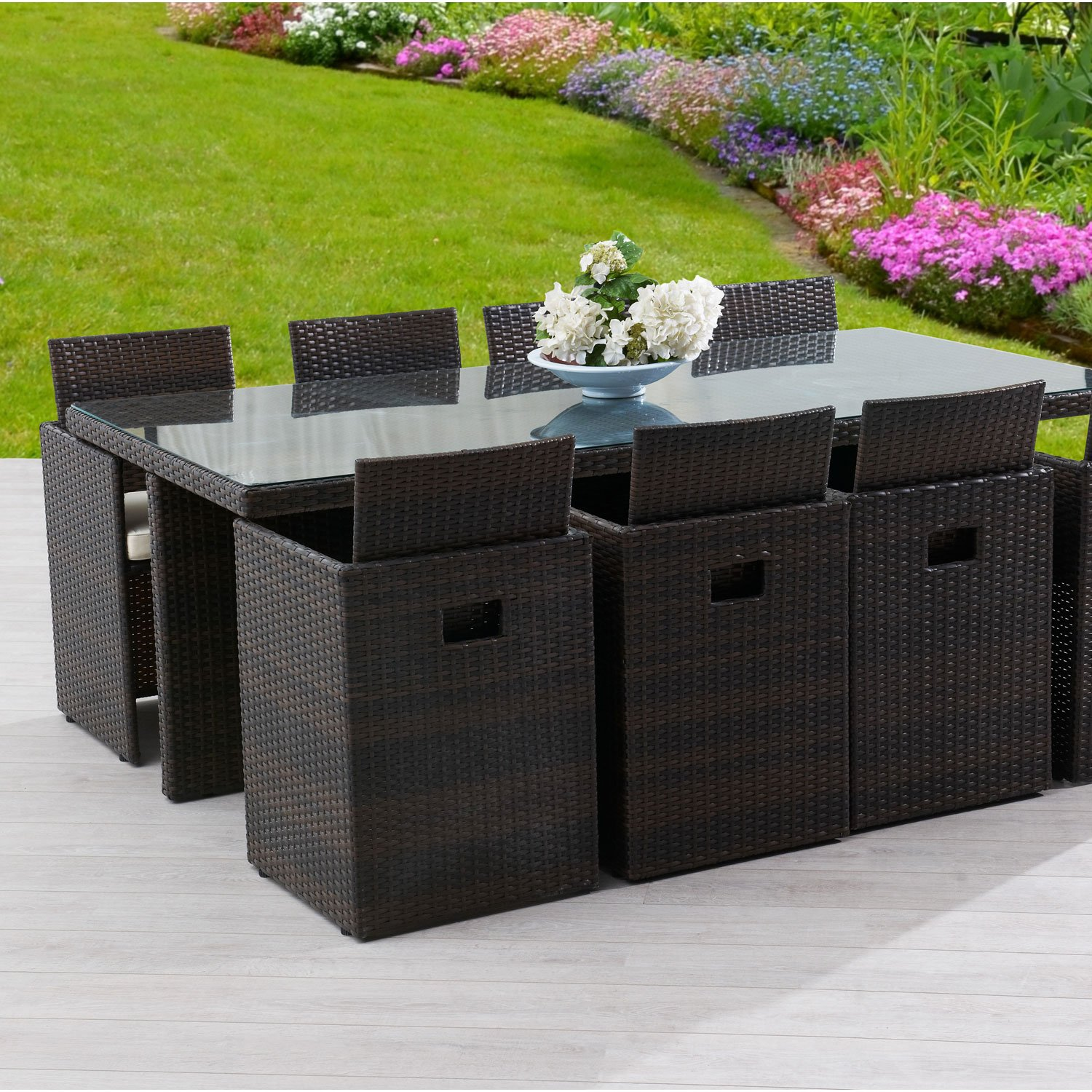 salon de jardin table coffre