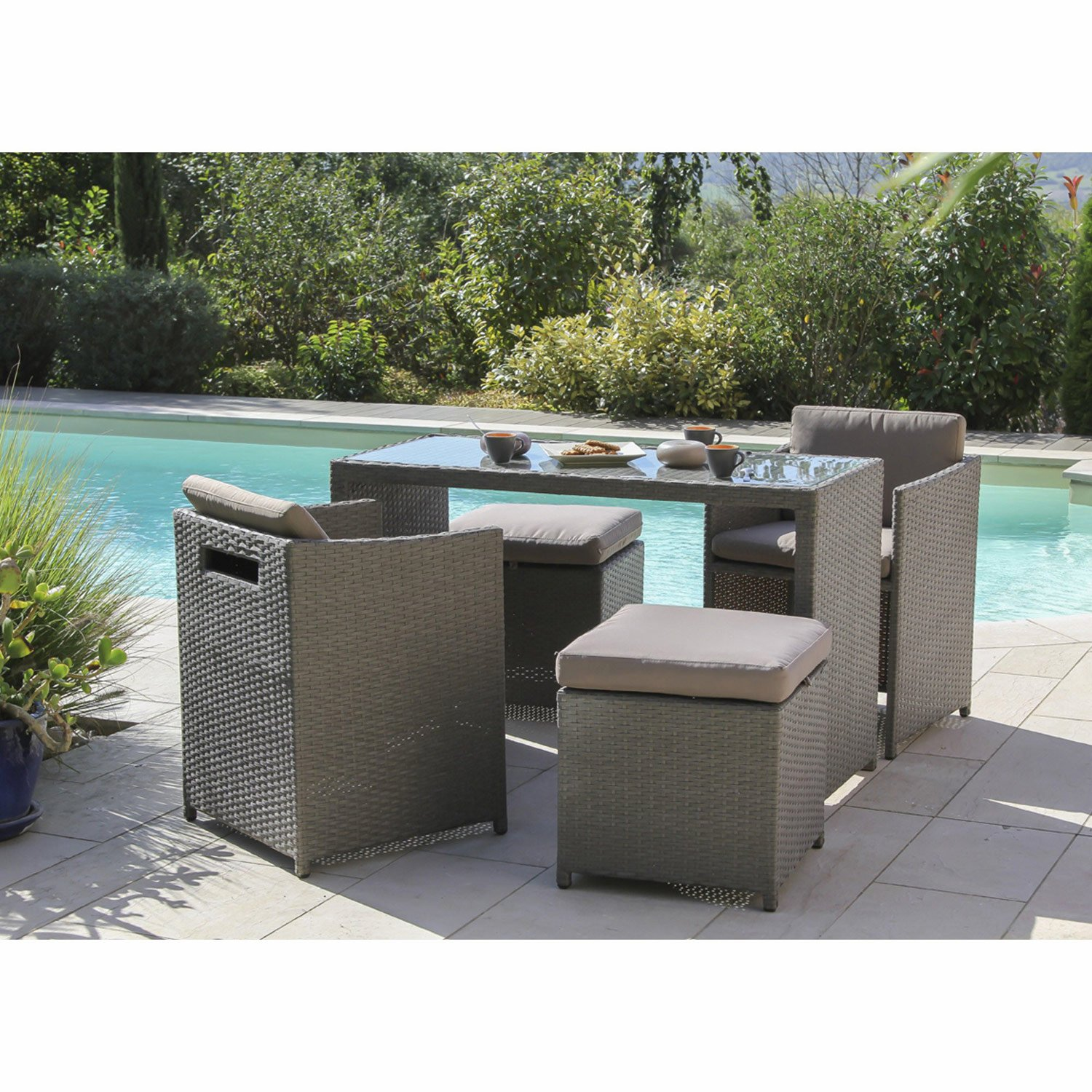 soldes salon de jardin r sine tress e gris id es de d coration int rieure french decor. Black Bedroom Furniture Sets. Home Design Ideas