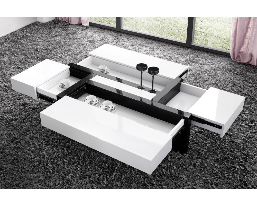 Table basse blanc laqu pas cher id es de d coration - Table de maquillage conforama ...