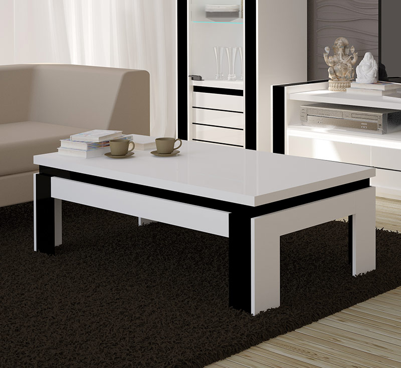 Table basse blanc laqu pas cher id es de d coration for Table basse salon design pas cher