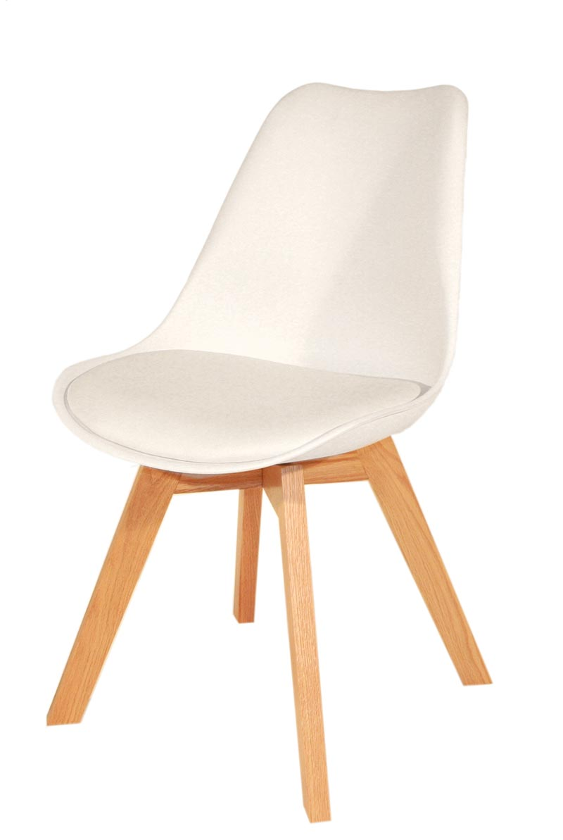 Chaise blanche pied en bois chaise design eames inspired for Chaise 3 pieds