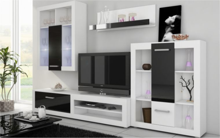 meuble tele noir et blanc 17 id es de d coration int rieure french decor. Black Bedroom Furniture Sets. Home Design Ideas