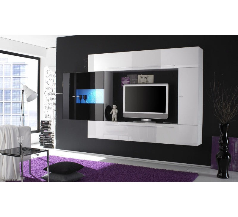 meuble tele noir et blanc 20 id es de d coration. Black Bedroom Furniture Sets. Home Design Ideas