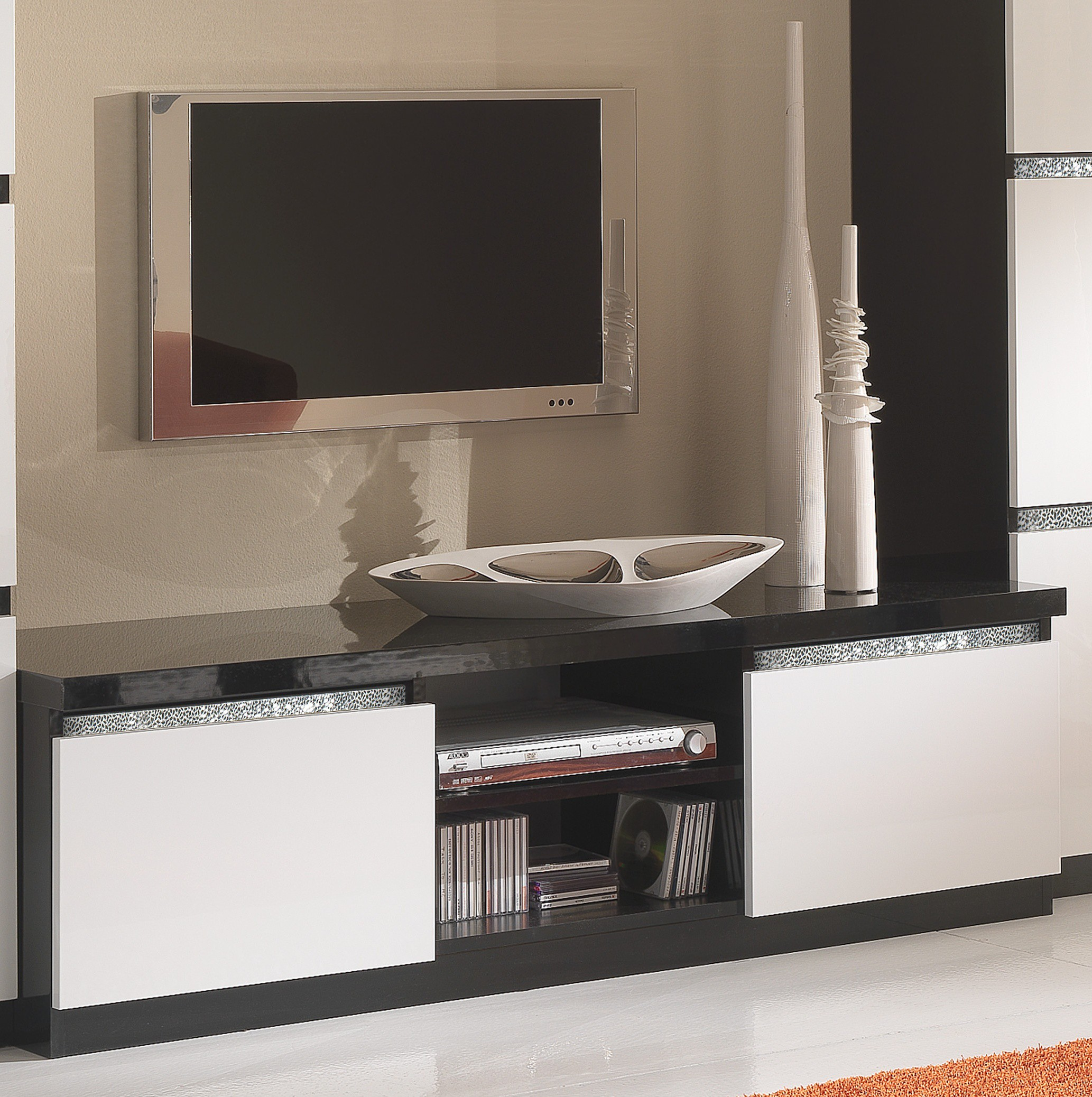 meuble tv blanc et noir id es de d coration int rieure french decor. Black Bedroom Furniture Sets. Home Design Ideas