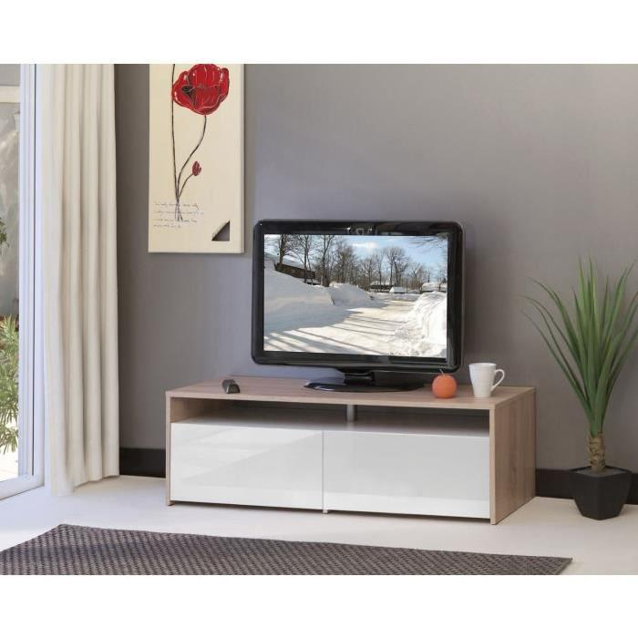 meuble tv blanc laqu 120 cm id es de d coration int rieure french decor. Black Bedroom Furniture Sets. Home Design Ideas