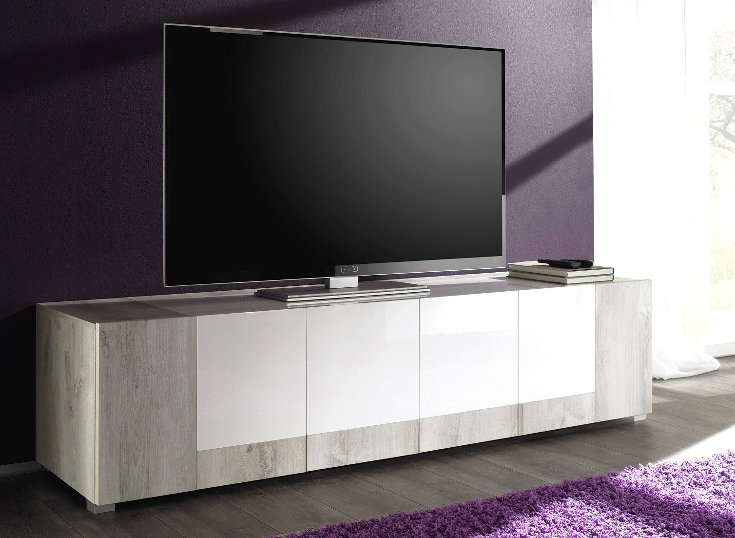 meuble tv blanc laqu et bois id es de d coration int rieure french decor. Black Bedroom Furniture Sets. Home Design Ideas