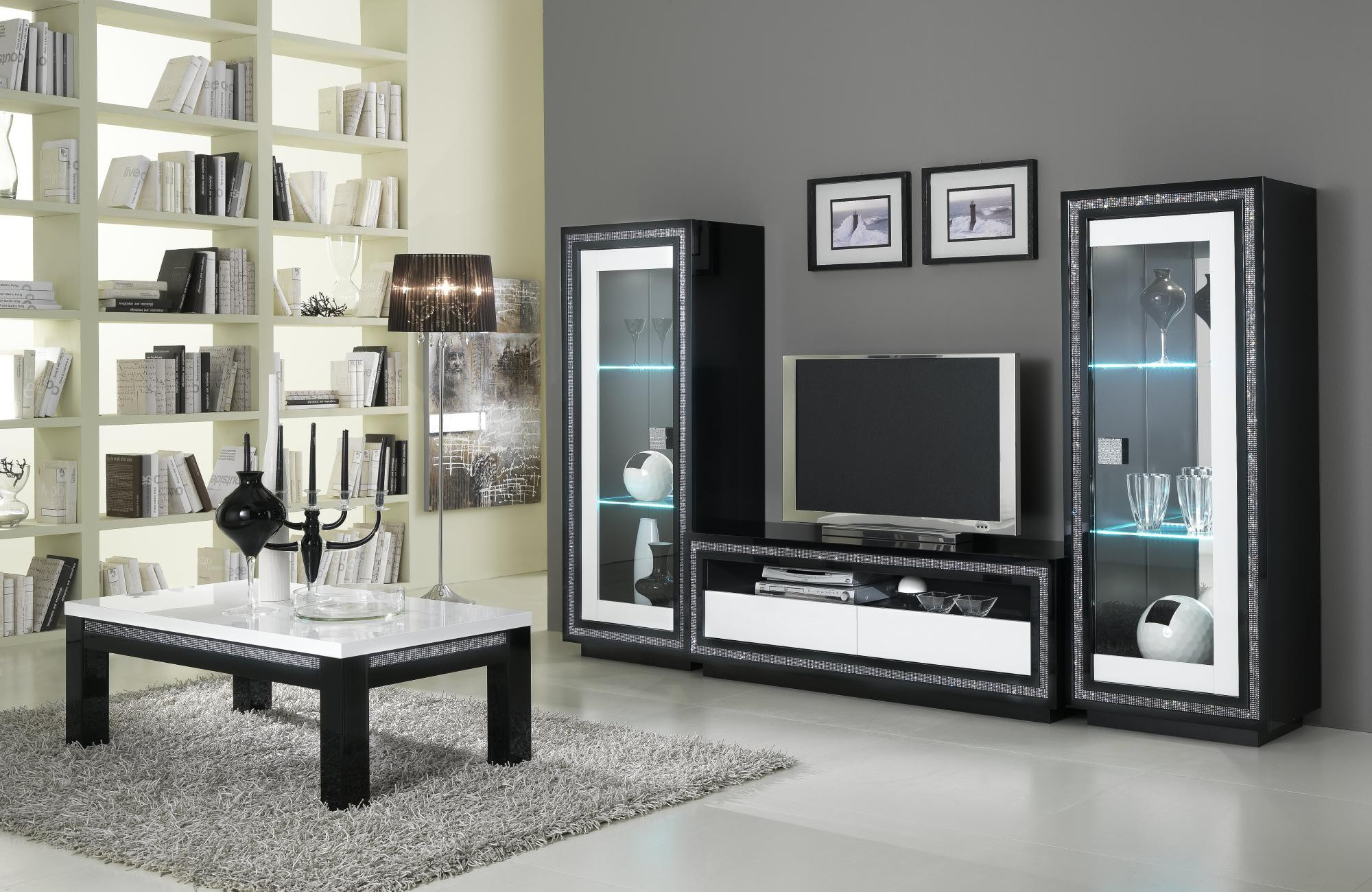 meuble tv design noir et blanc 14 id es de d coration int rieure french decor. Black Bedroom Furniture Sets. Home Design Ideas