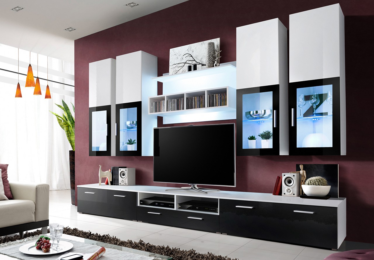 meuble tv laqu blanc et noir 17 id es de d coration int rieure french decor. Black Bedroom Furniture Sets. Home Design Ideas