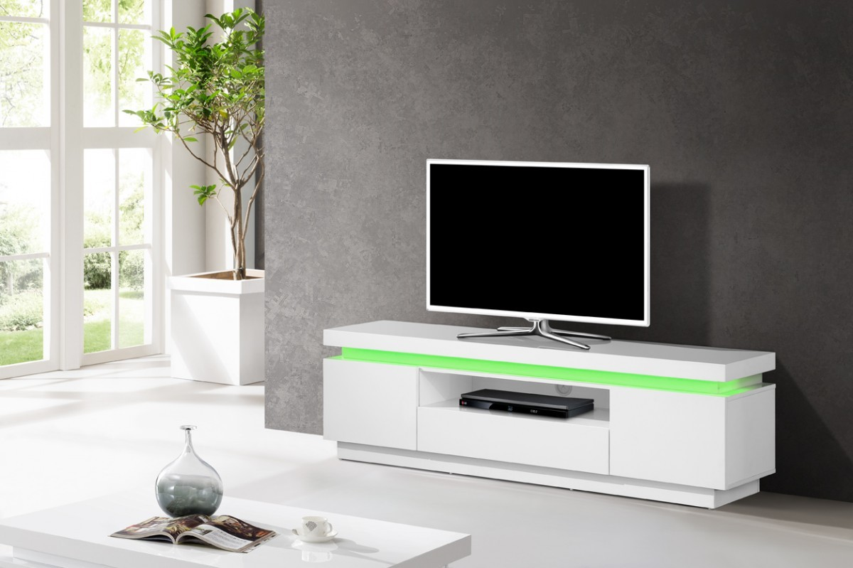 meuble tv led blanc id es de d coration int rieure french decor. Black Bedroom Furniture Sets. Home Design Ideas