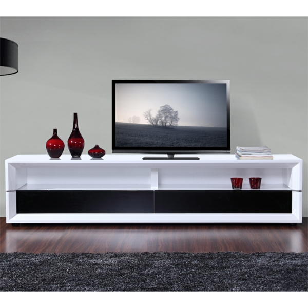 meuble tv noir et blanc laqu id es de d coration. Black Bedroom Furniture Sets. Home Design Ideas