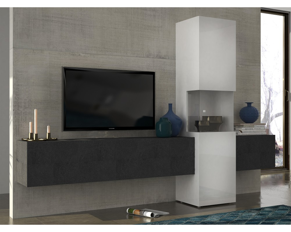 perfect meuble tv suspendu gris with meuble tv campagne chic. Black Bedroom Furniture Sets. Home Design Ideas