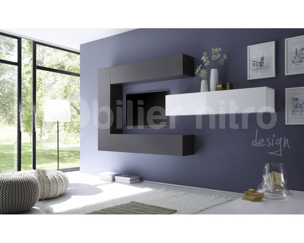 Meuble tv suspendu gris id es de d coration int rieure french decor - Meuble suspendu salle a manger ...