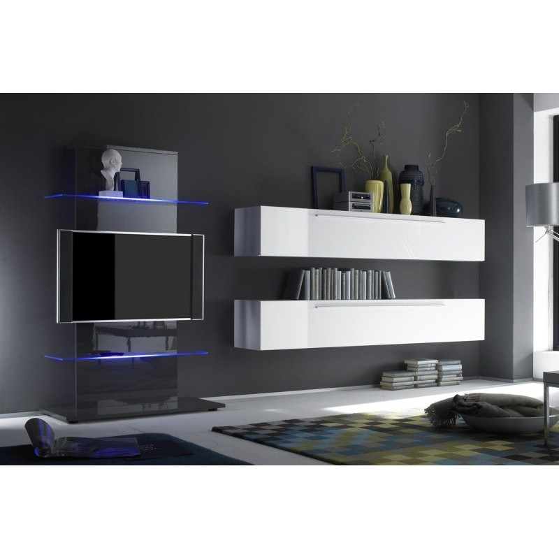 meuble tv suspendu gris with meuble tv campagne chic. Black Bedroom Furniture Sets. Home Design Ideas