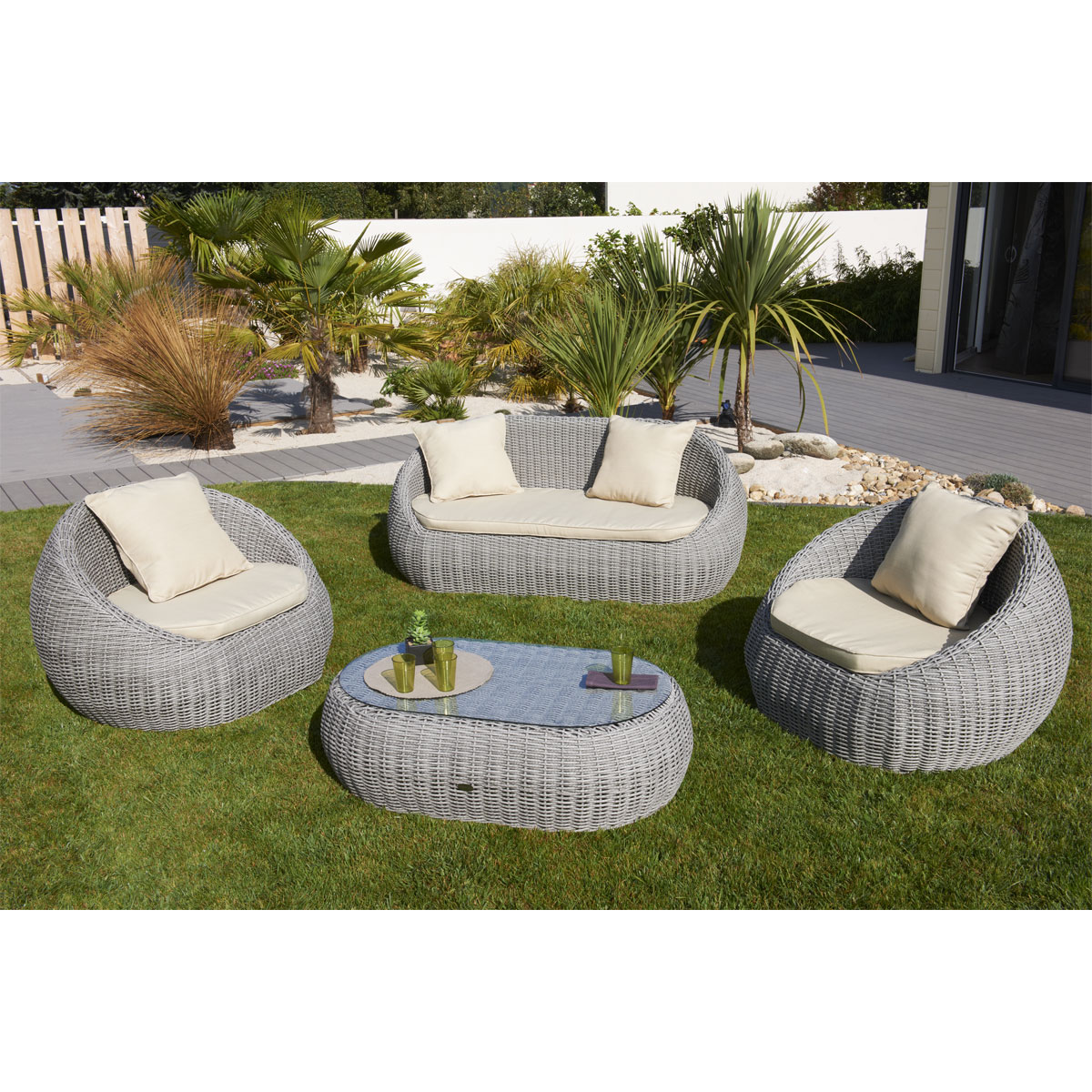 salon de jardin resine tressee gris pas cher id es de. Black Bedroom Furniture Sets. Home Design Ideas