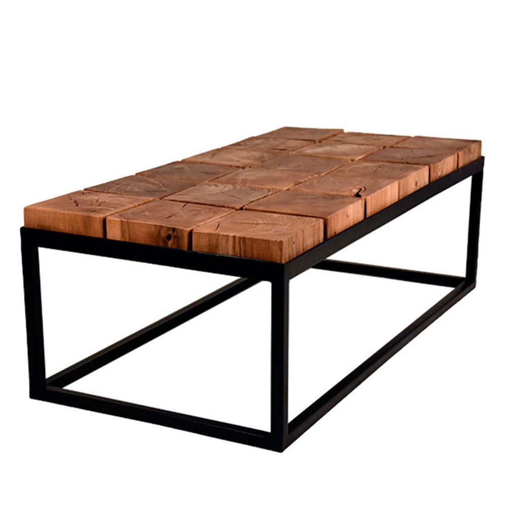 Table basse carr e bois et metal id es de d coration for Table basse industrielle metal et bois