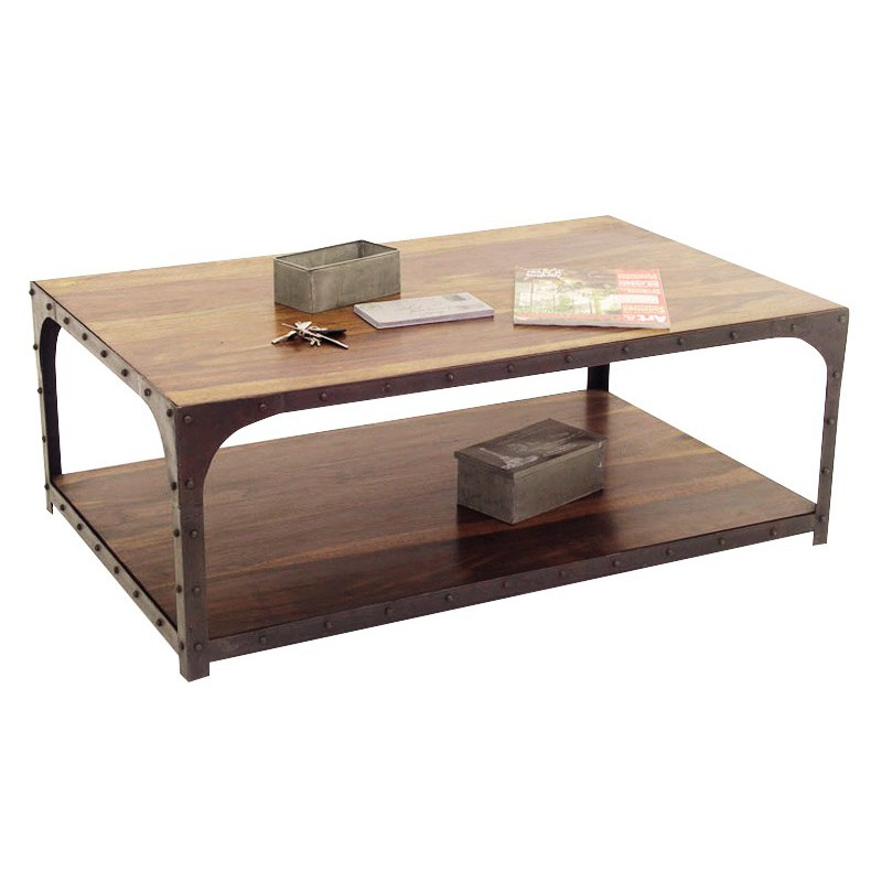 Table basse carree bois et fer forge assez table basse for Table salon bois et fer