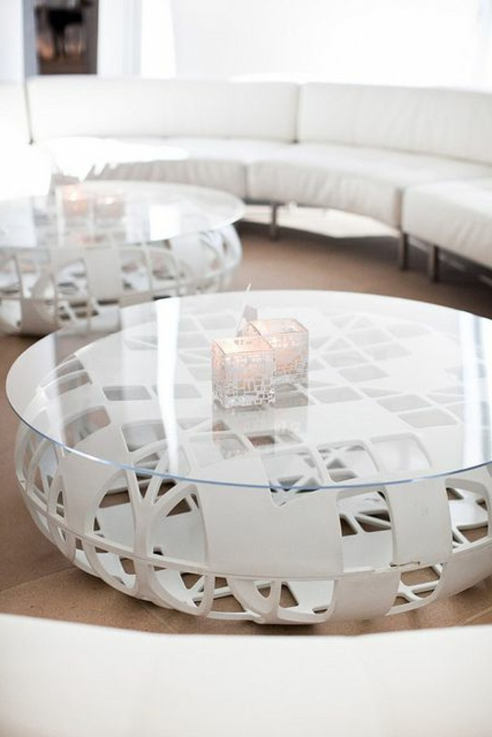 Table basse ronde en verre design id es de d coration for Table ronde verre design