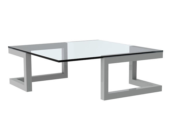 table basse verre metal
