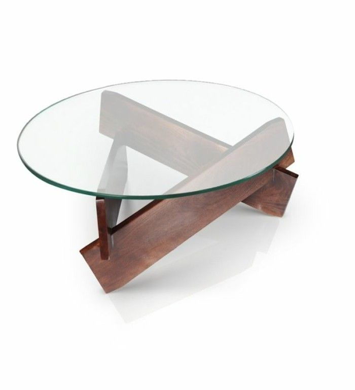 table de salon ronde en verre