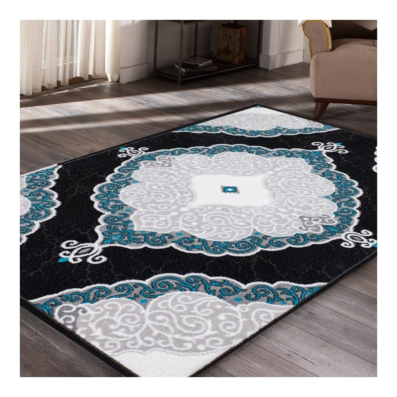 tapis de salon bleu turquoise 19 id es de d coration. Black Bedroom Furniture Sets. Home Design Ideas