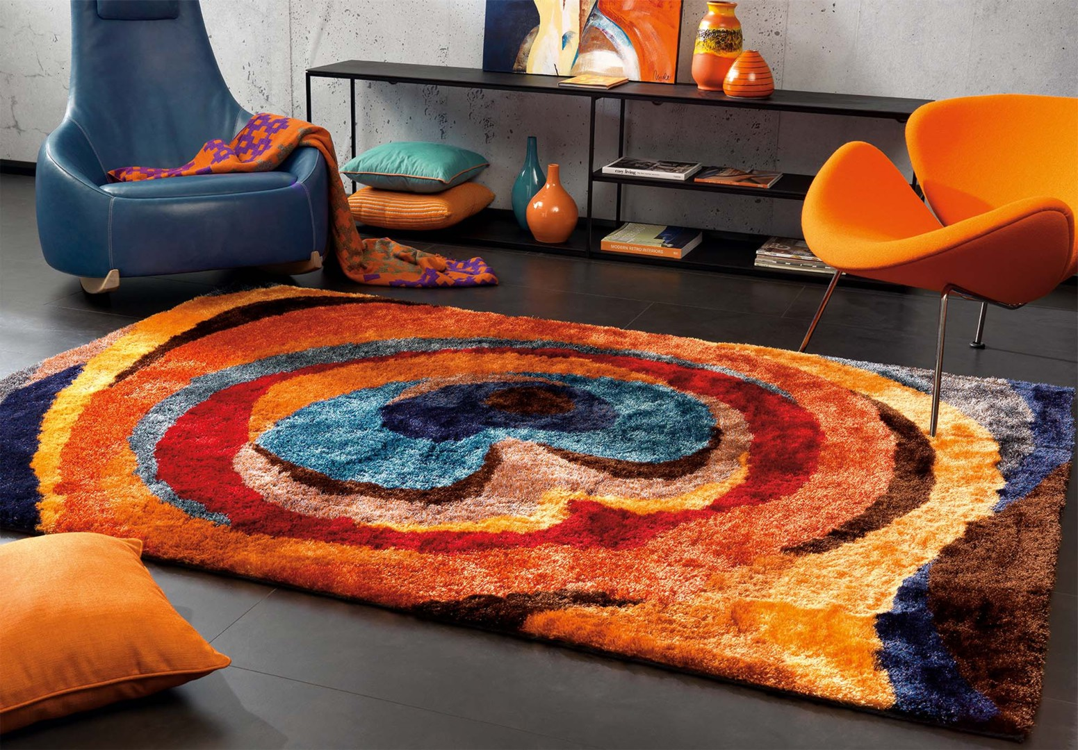 tapis rond multicolore id es de d coration int rieure french decor. Black Bedroom Furniture Sets. Home Design Ideas