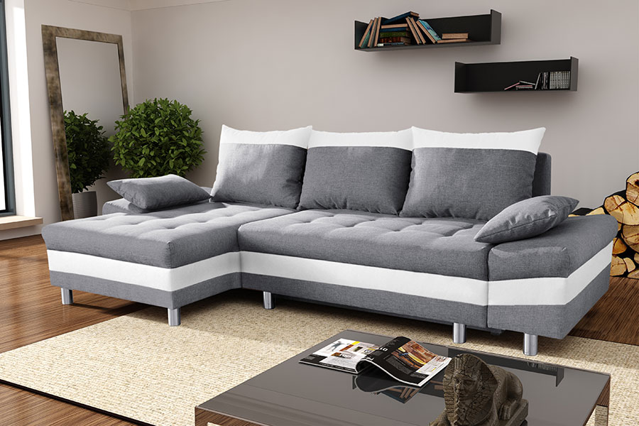 Canape Angle Convertible Tissu Gris Idees De Decoration Interieure
