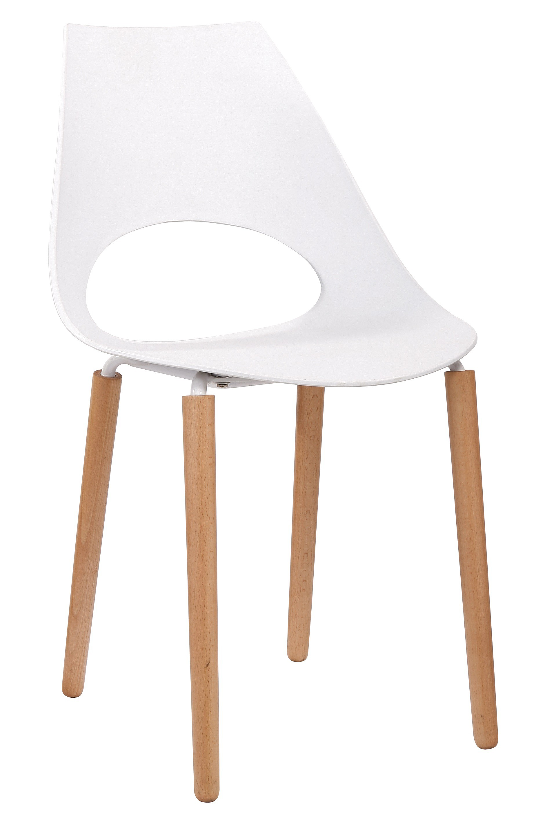 Chaise blanche et bois white side chair with elm wood for Table bois chaise blanche