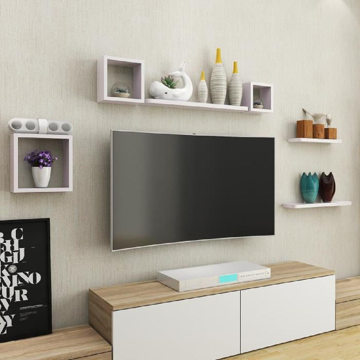Deco etagere murale salon id es de d coration int rieure french decor - Hauteur tv murale salon ...
