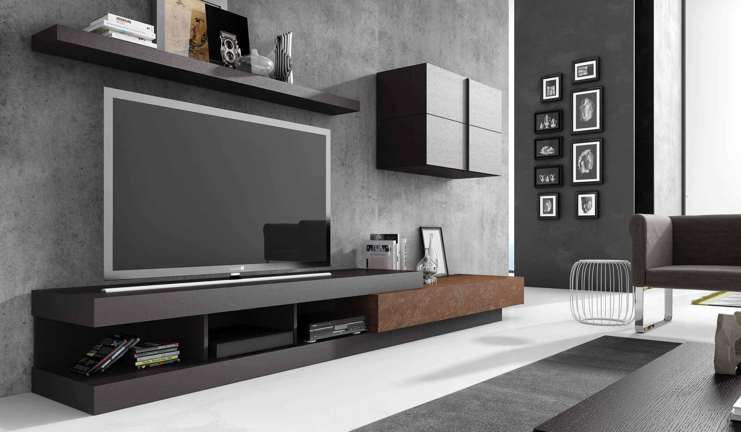 meuble de tele contemporain id es de d coration int rieure french decor. Black Bedroom Furniture Sets. Home Design Ideas