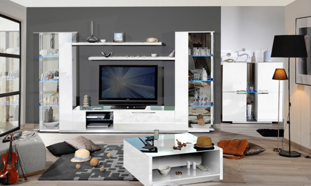 meuble tv blanc avec rangement id es de d coration. Black Bedroom Furniture Sets. Home Design Ideas