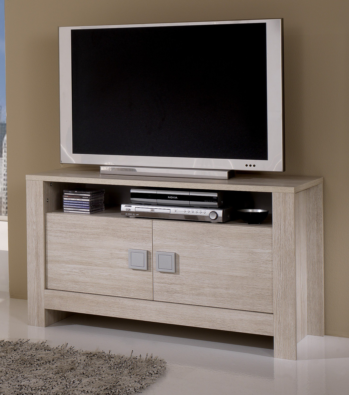 meuble tv blanc et chene 18 id es de d coration. Black Bedroom Furniture Sets. Home Design Ideas