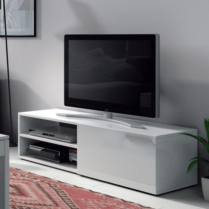 meuble tv blanc laqu 130 cm 3 id es de d coration int rieure french decor. Black Bedroom Furniture Sets. Home Design Ideas