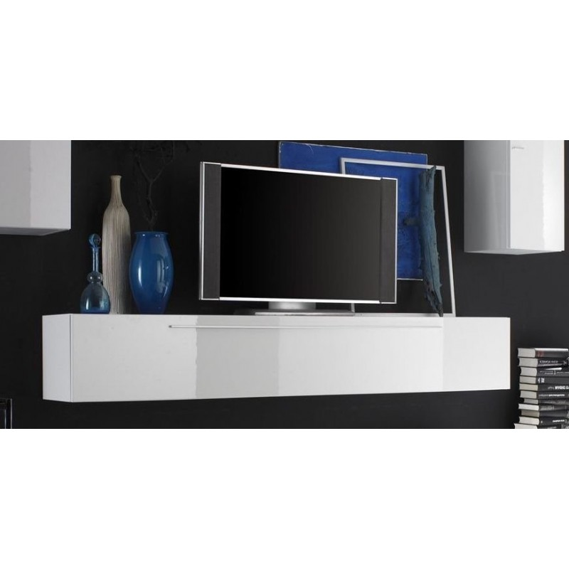 Meuble tv blanc laqu long id es de d coration int rieure french decor - Long meuble tv ...