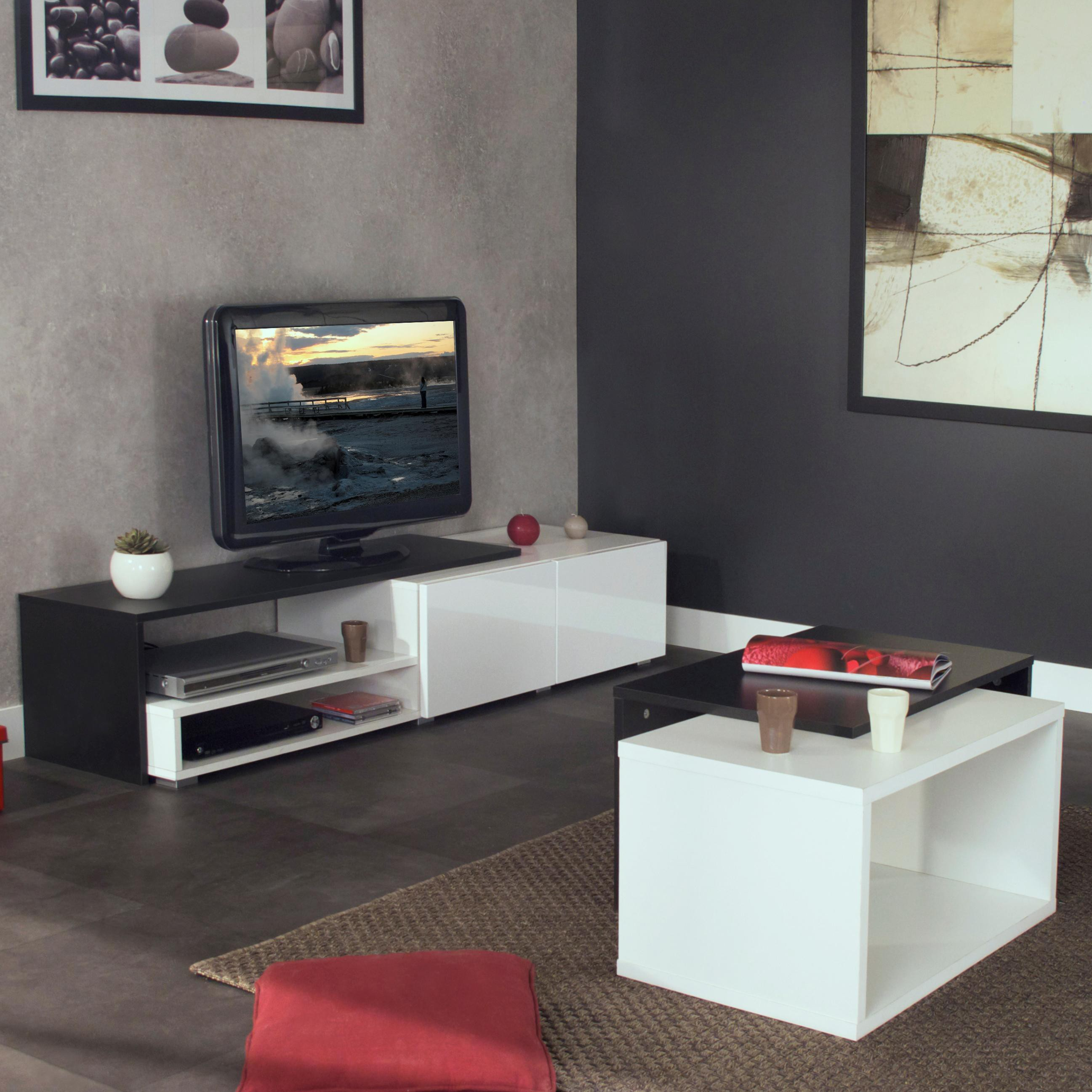 meuble tv d angle design blanc 15 id es de d coration. Black Bedroom Furniture Sets. Home Design Ideas
