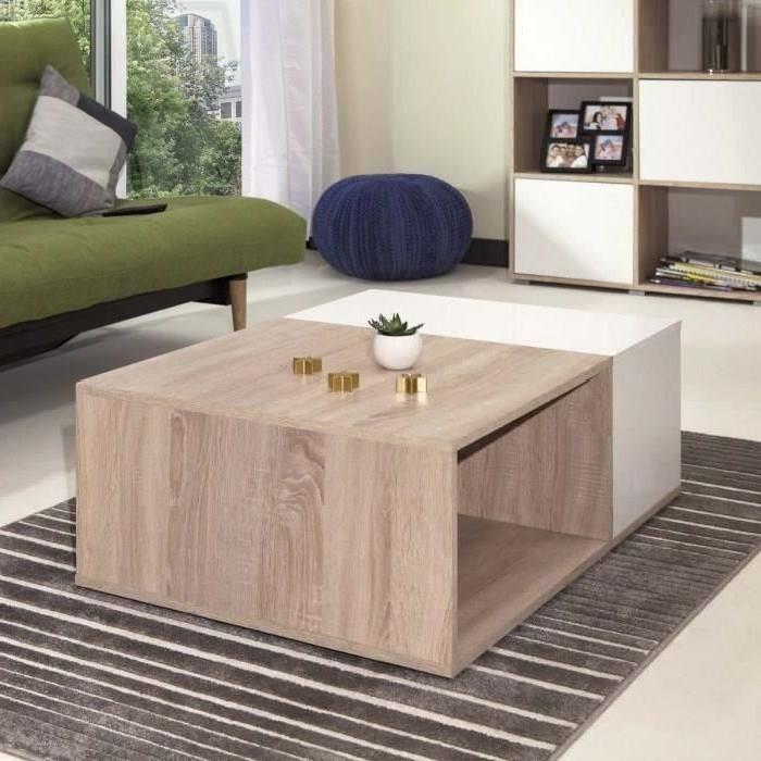 table basse blanche et bois clair id es de d coration. Black Bedroom Furniture Sets. Home Design Ideas