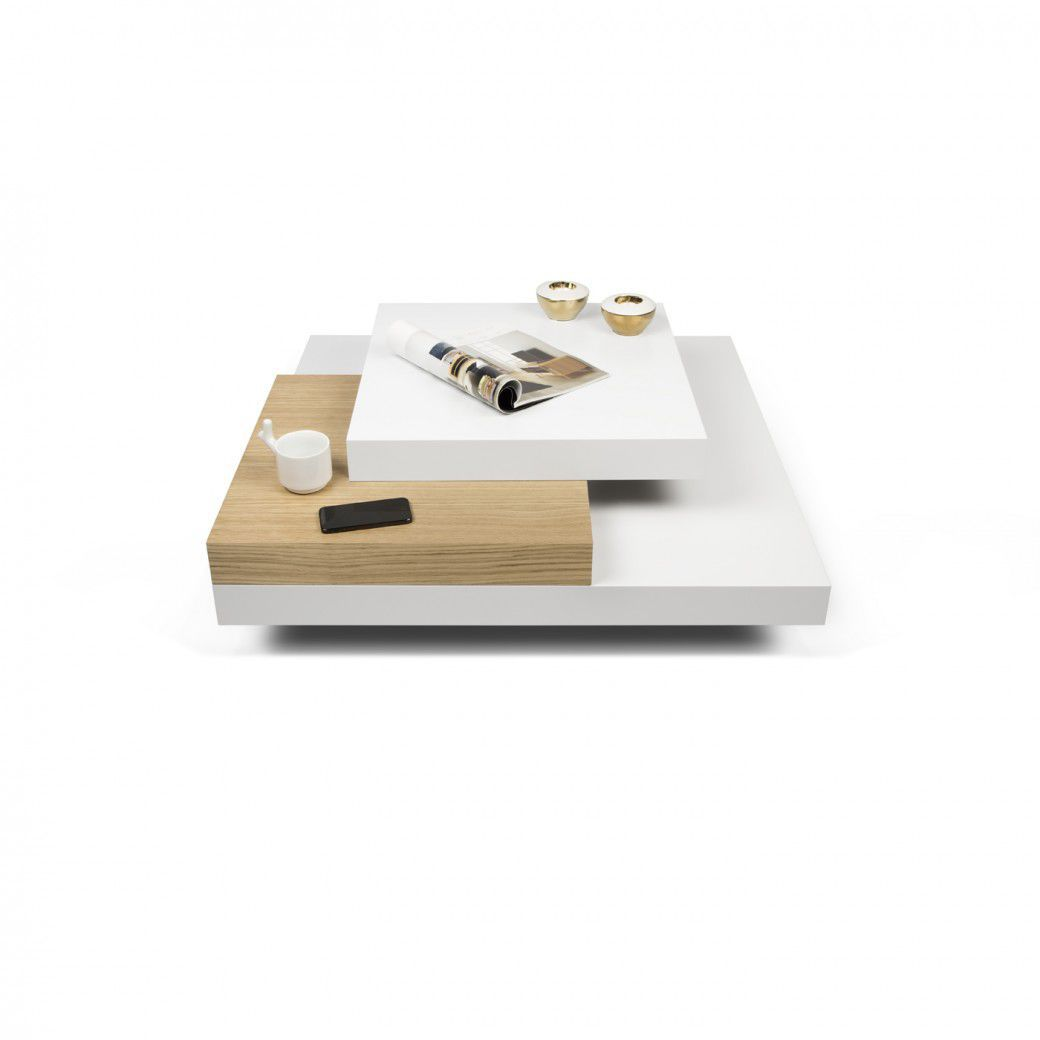 Table basse laqu blanc et bois id es de d coration for Table basse blanc bois
