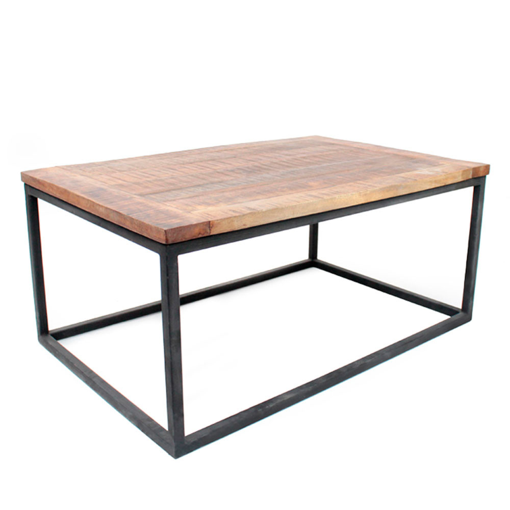 Table basse bois et metal pas cher for Table ronde bois metal