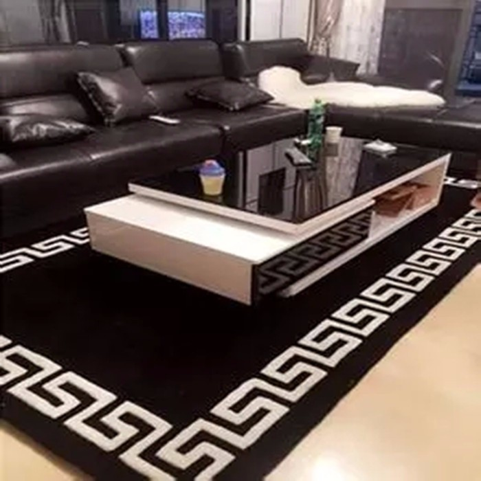 tapis salon noir et blanc 14 id es de d coration. Black Bedroom Furniture Sets. Home Design Ideas