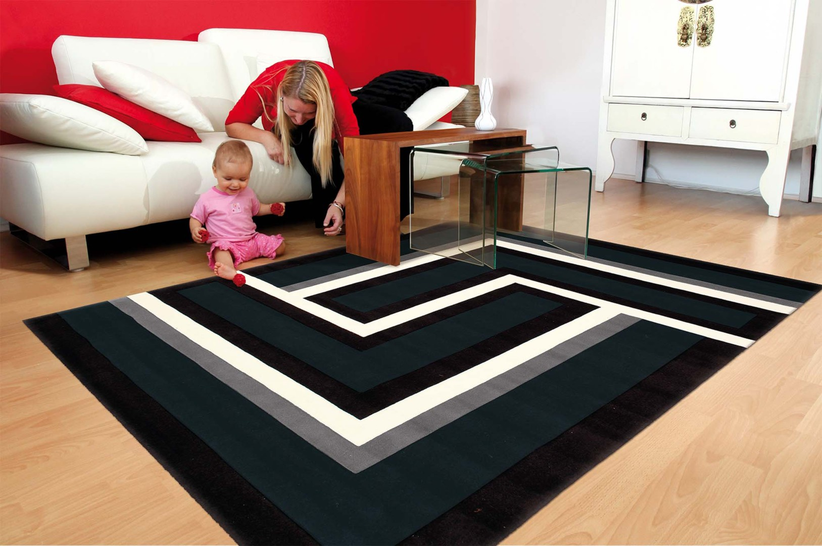 tapis rouge blanc noir design id es de d coration. Black Bedroom Furniture Sets. Home Design Ideas