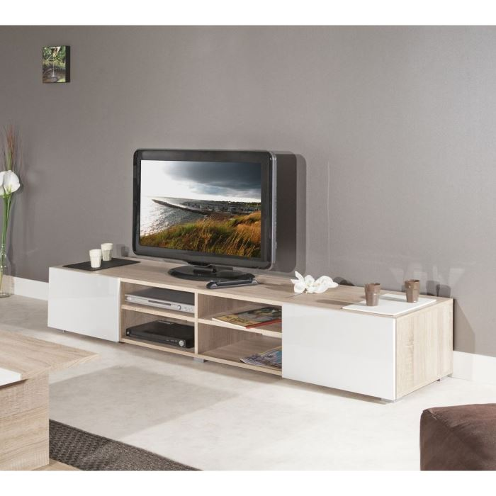 meuble tv chene et blanc 2 id es de d coration int rieure french decor. Black Bedroom Furniture Sets. Home Design Ideas