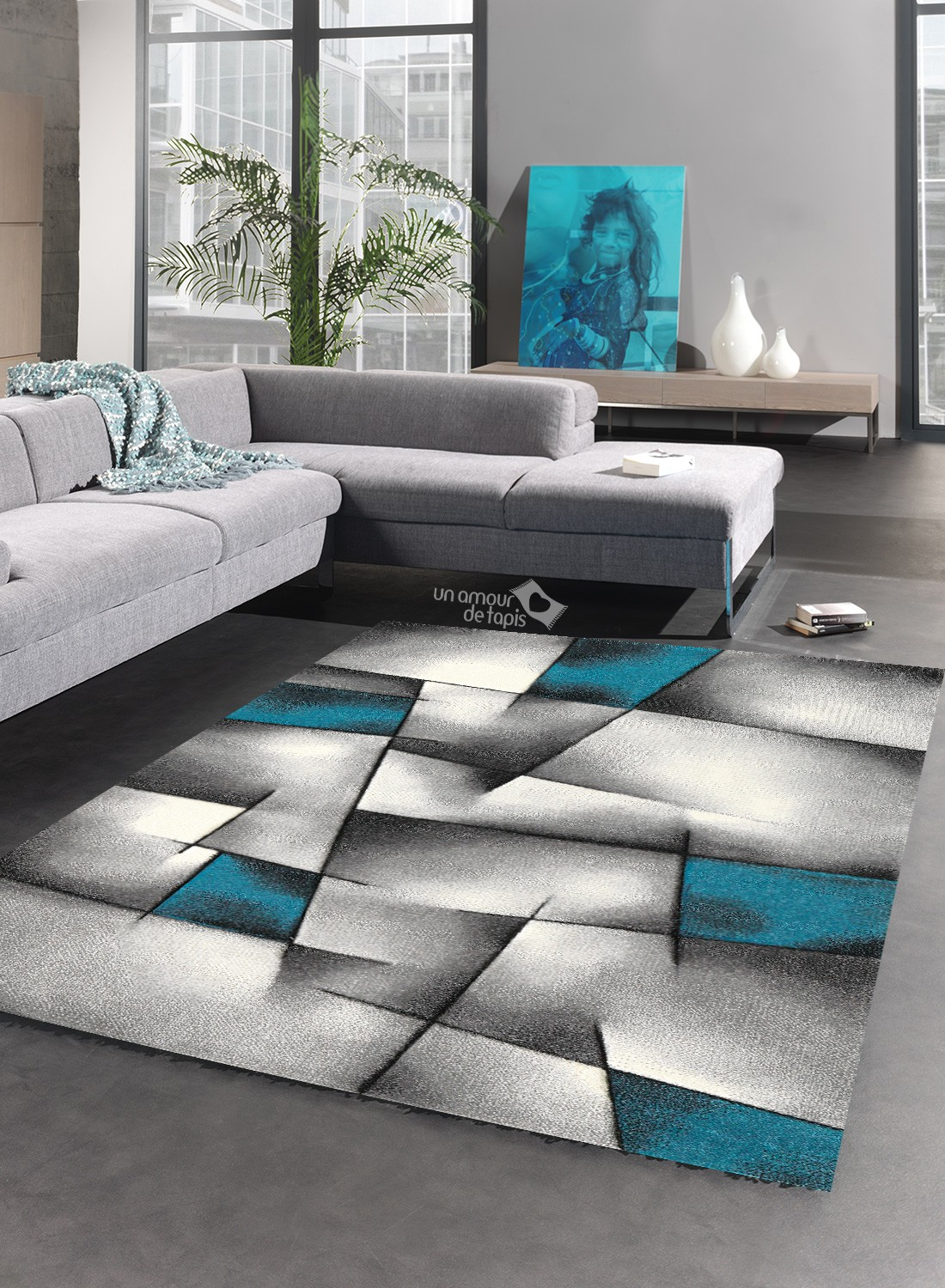 tapis gris et turquoise id es de d coration int rieure french decor. Black Bedroom Furniture Sets. Home Design Ideas