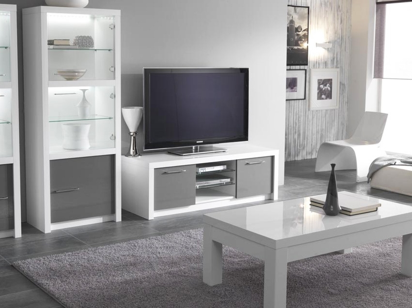 meuble tele blanc et gris id es de d coration int rieure french decor. Black Bedroom Furniture Sets. Home Design Ideas