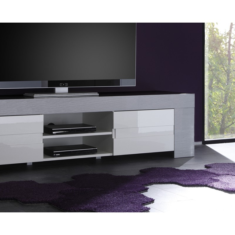 meuble tv blanc et gris laqu 16 id es de d coration int rieure french decor. Black Bedroom Furniture Sets. Home Design Ideas