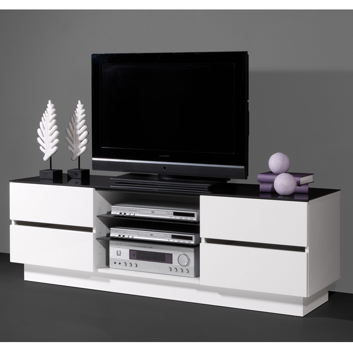 meuble tv blanc et noir laqu id es de d coration int rieure french decor. Black Bedroom Furniture Sets. Home Design Ideas