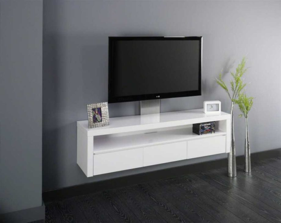 Meuble tv blanc laqu suspendu id es de d coration for Meuble tv suspendu blanc